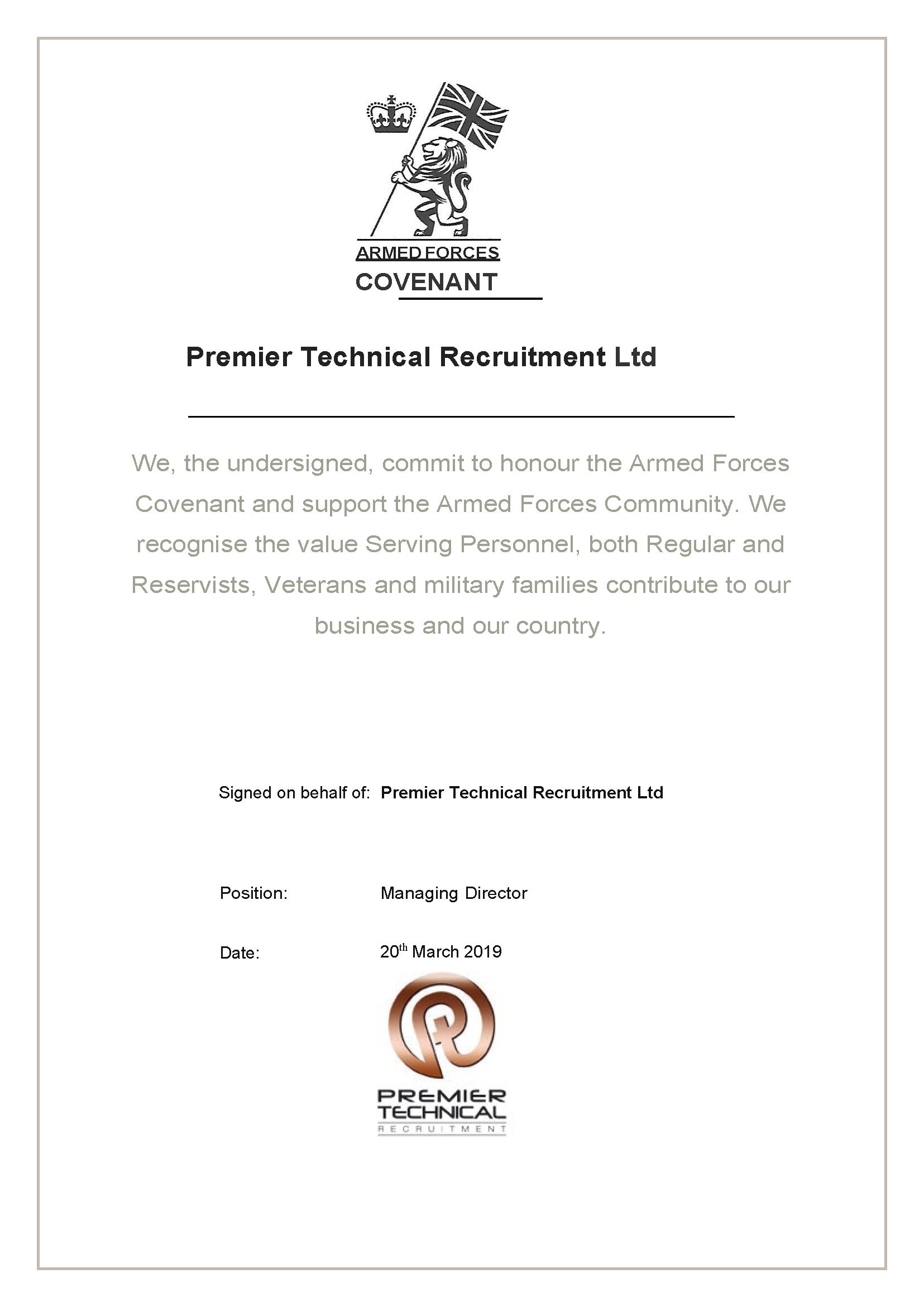 Premier Technical Recruitment Ltd Armed Forces Covenant Page 1