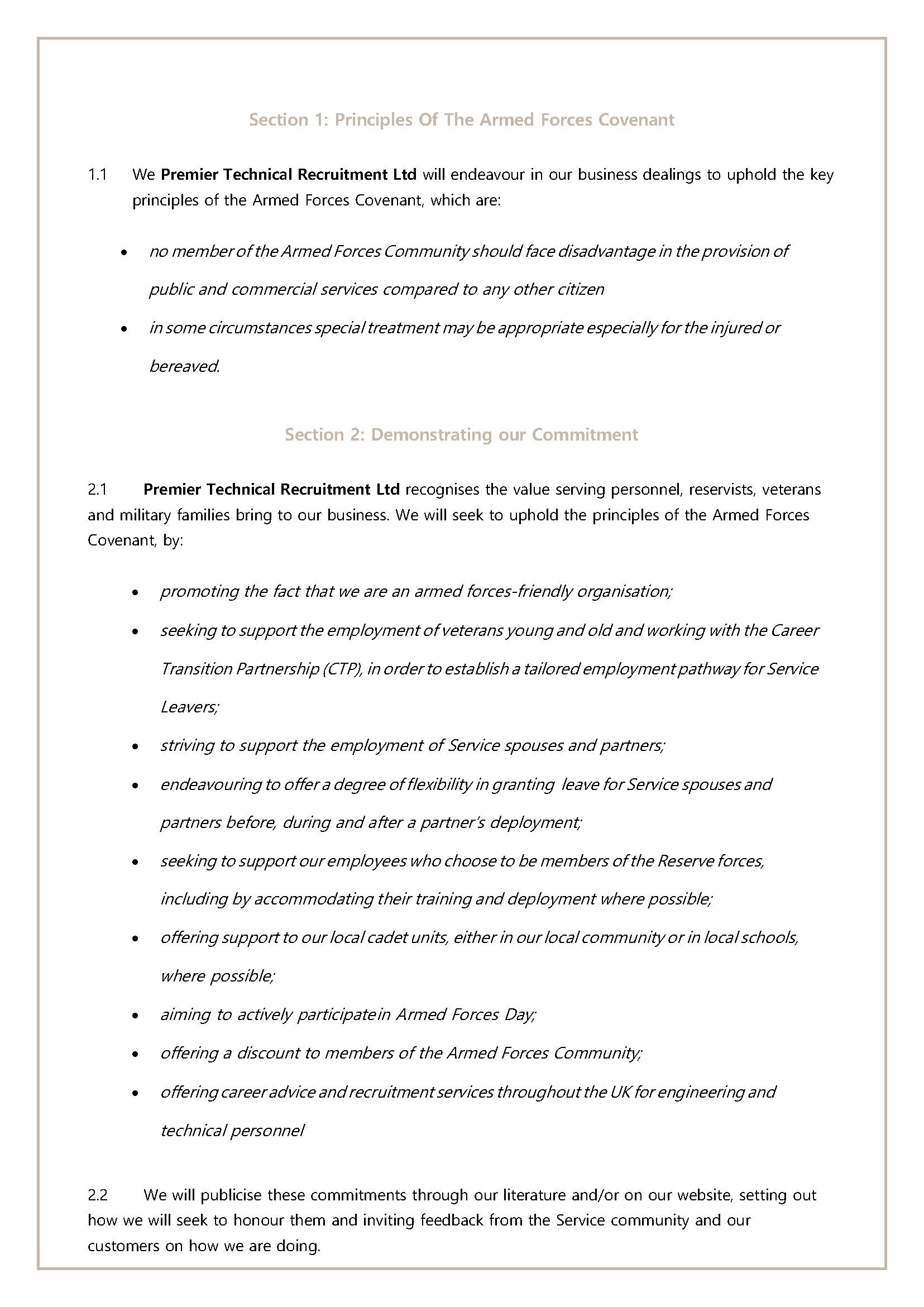 Premier Technical Recruitment Ltd Armed Forces Covenant Page 3
